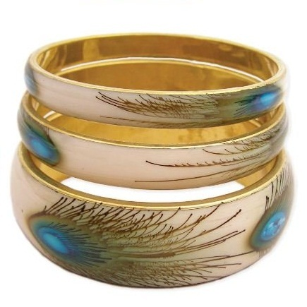 ZAD Set of 3 Peacock Feather Print Bangle Bracelet Set